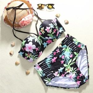 Other - 💥HP💥 Floral Print High Waist Swimsuit Plus Size